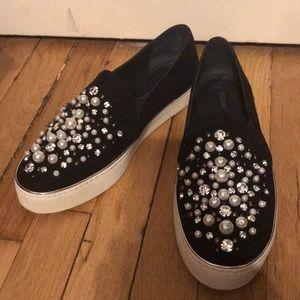 Stuart Weitzman Pearl Decor Suede Sneakers 9.5